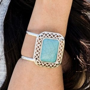 Santa Fe Silver and Turquoise Bracelet